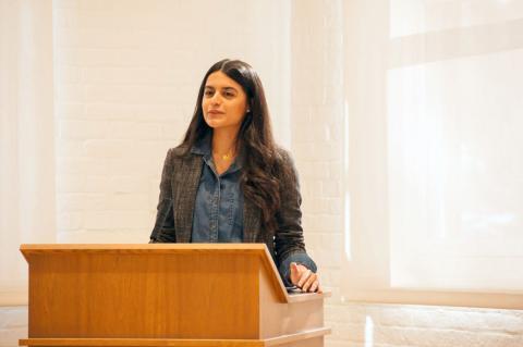 Roya giving presentation